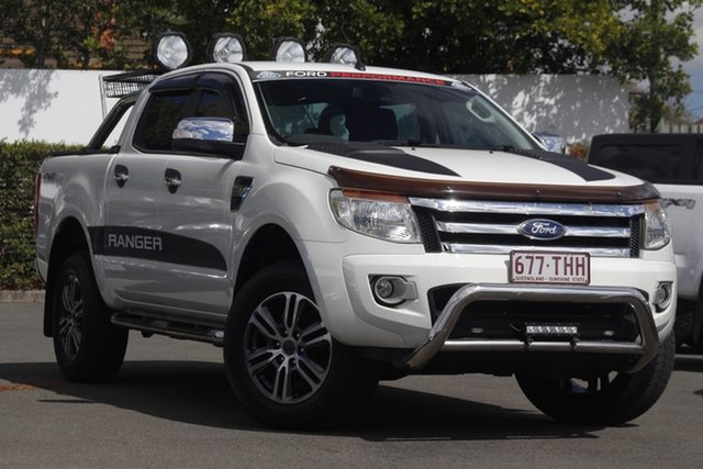 Used Ford Ranger PX XLT Double Cab Mount Gravatt, 2013 Ford Ranger PX XLT Double Cab White 6 Speed Manual Utility