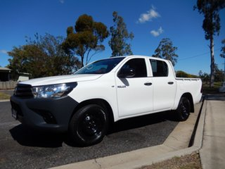 2018 Toyota Hilux TGN121R MY17 Workmate Glacier White 6 Speed Automatic Dual Cab Utility
