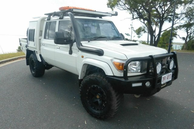 Used Toyota Landcruiser VDJ79R GXL Double Cab Gladstone, 2014 Toyota Landcruiser VDJ79R GXL Double Cab White 5 Speed Manual Cab Chassis