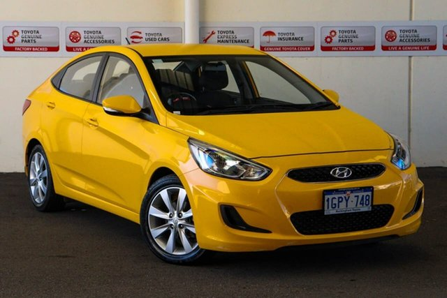 Pre-Owned Hyundai Accent RB6 MY18 Sport Myaree, 2018 Hyundai Accent RB6 MY18 Sport Yellow 6 Speed Manual Sedan