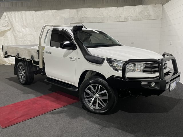 Used Toyota Hilux GUN126R SR Glenorchy, 2017 Toyota Hilux GUN126R SR White 6 Speed Manual Cab Chassis