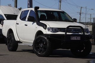 2014 Mitsubishi Triton MN MY15 GLX Double Cab White Solid 5 Speed Manual Utility.