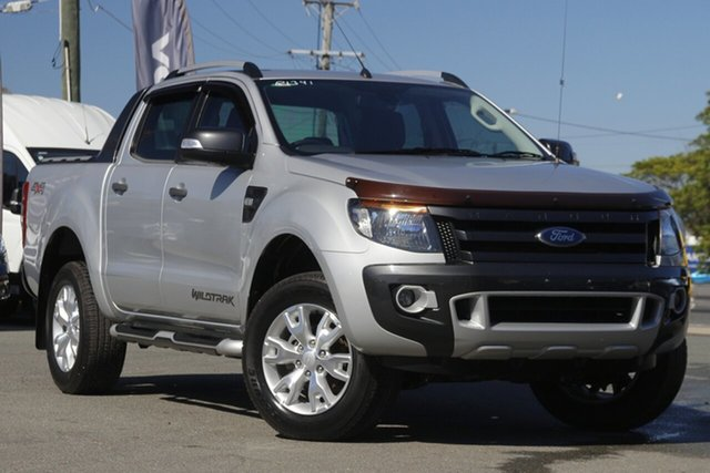 Used Ford Ranger PX Wildtrak Double Cab Rocklea, 2014 Ford Ranger PX Wildtrak Double Cab Highlight Silver 6 Speed Sports Automatic Utility