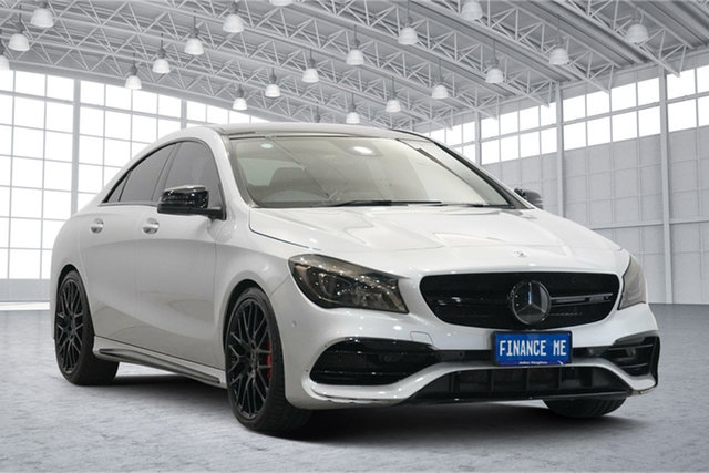 Used Mercedes-Benz CLA-Class C117 808+058MY CLA45 AMG SPEEDSHIFT DCT 4MATIC Victoria Park, 2018 Mercedes-Benz CLA-Class C117 808+058MY CLA45 AMG SPEEDSHIFT DCT 4MATIC Silver 7 Speed