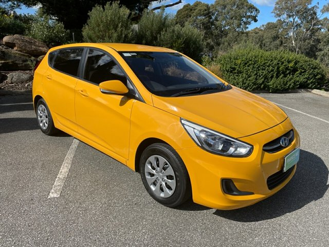 Used Hyundai Accent RB3 MY16 Active Totness, 2016 Hyundai Accent RB3 MY16 Active Sunflower 6 Speed Constant Variable Hatchback