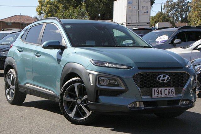 Used Hyundai Kona OS MY18 Highlander D-CT AWD Toowoomba, 2017 Hyundai Kona OS MY18 Highlander D-CT AWD Blue 7 Speed Sports Automatic Dual Clutch Wagon
