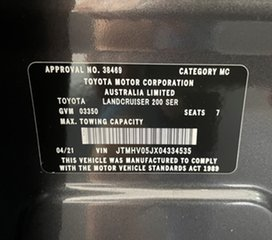 2021 Toyota Landcruiser VDJ200R Sahara Charcoal 6 Speed Sports Automatic Wagon