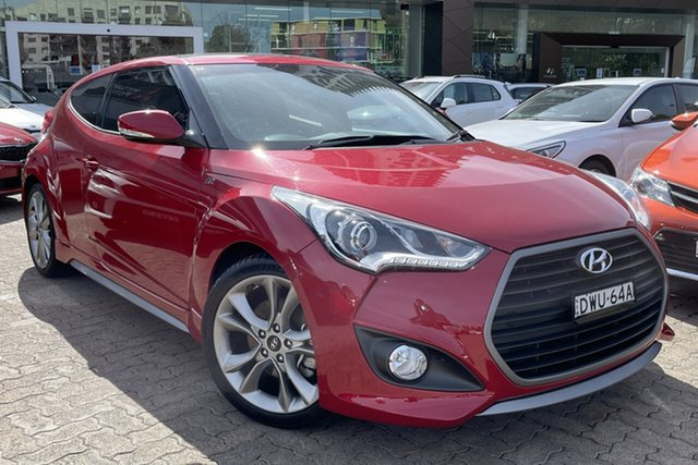 Used Hyundai Veloster FS5 Series 2 MY16 SR Turbo Rosebery, 2017 Hyundai Veloster FS5 Series 2 MY16 SR Turbo Boston Red 7 Speed Auto Dual Clutch Coupe