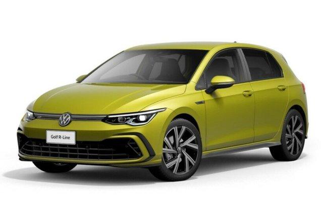New Volkswagen Golf 8 MY21 110TSI R-Line Port Melbourne, 2021 Volkswagen Golf 8 MY21 110TSI R-Line Yellow 8 Speed Sports Automatic Hatchback