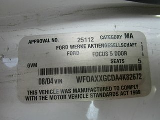 2004 Ford Focus LR CL White 4 Speed Automatic Hatchback