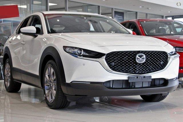 New Mazda CX-30 DM2W7A G20 SKYACTIV-Drive Evolve Waitara, 2021 Mazda CX-30 DM2W7A G20 SKYACTIV-Drive Evolve White 6 Speed Sports Automatic Wagon