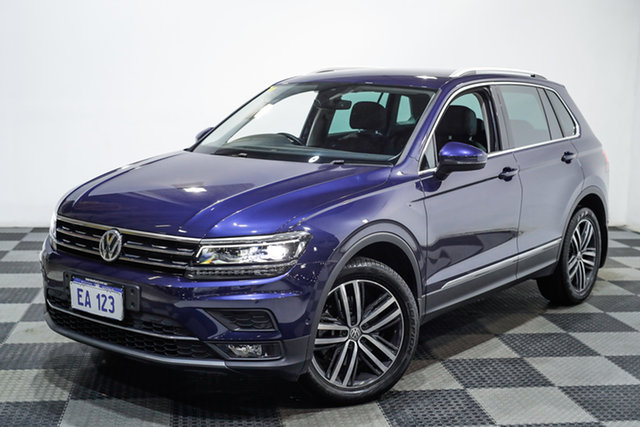 Used Volkswagen Tiguan 5N MY18 162TSI DSG 4MOTION Highline Edgewater, 2018 Volkswagen Tiguan 5N MY18 162TSI DSG 4MOTION Highline Blue 7 Speed Sports Automatic Dual Clutch