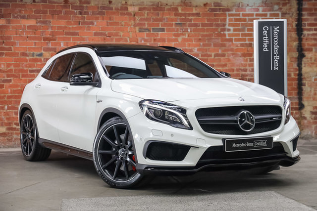 Certified Pre-Owned Mercedes-Benz GLA-Class X156 805+055MY GLA45 AMG SPEEDSHIFT DCT 4MATIC Mulgrave, 2015 Mercedes-Benz GLA-Class X156 805+055MY GLA45 AMG SPEEDSHIFT DCT 4MATIC Cirrus White 7 Speed