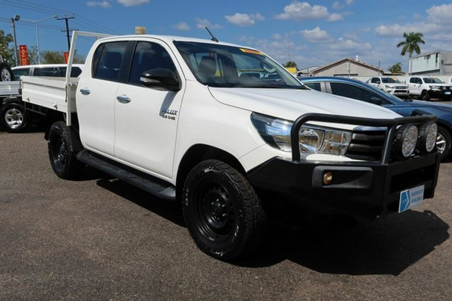Used Toyota Hilux GUN126R SR Double Cab Winnellie, 2016 Toyota Hilux GUN126R SR Double Cab White 6 Speed Manual Cab Chassis