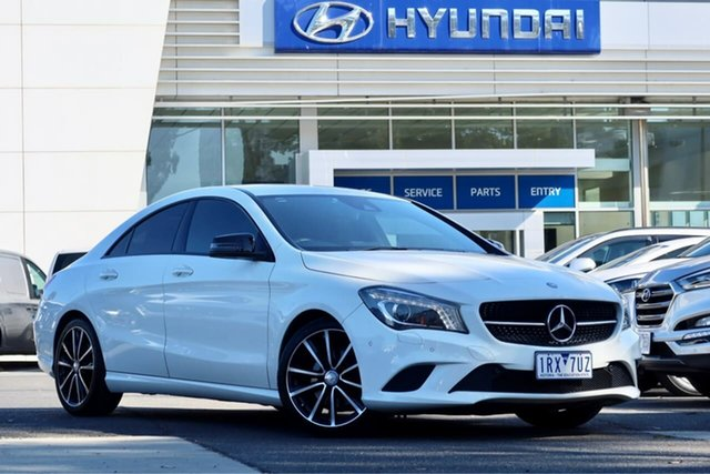 Used Mercedes-Benz CLA-Class C117 806MY CLA200 DCT South Melbourne, 2015 Mercedes-Benz CLA-Class C117 806MY CLA200 DCT White 7 Speed Sports Automatic Dual Clutch Coupe