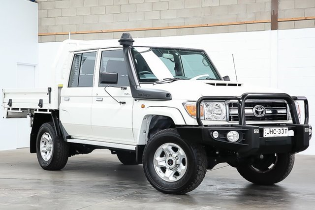 Used Toyota Landcruiser VDJ79R GXL Double Cab Erina, 2018 Toyota Landcruiser VDJ79R GXL Double Cab White 5 Speed Manual Cab Chassis
