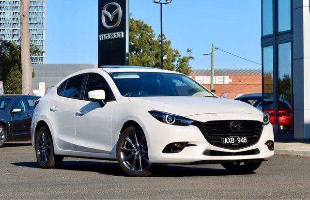 Used Mazda 3 BN5238 SP25 SKYACTIV-Drive Astina South Melbourne, 2018 Mazda 3 BN5238 SP25 SKYACTIV-Drive Astina Snowflake White Pearl 6 Speed Sports Automatic Sedan