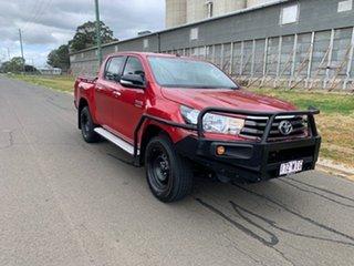 2016 Toyota Hilux GUN126R SR (4x4) Olympia Red 6 Speed Automatic Dual Cab Utility.