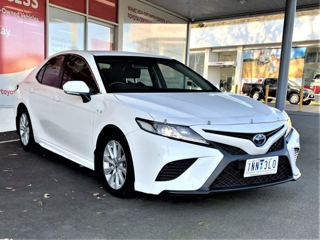 Pre-Owned Toyota Camry AXVH71R Ascent Sport Ferntree Gully, 2018 Toyota Camry AXVH71R Ascent Sport Glacier White 6 Speed Constant Variable Sedan Hybrid