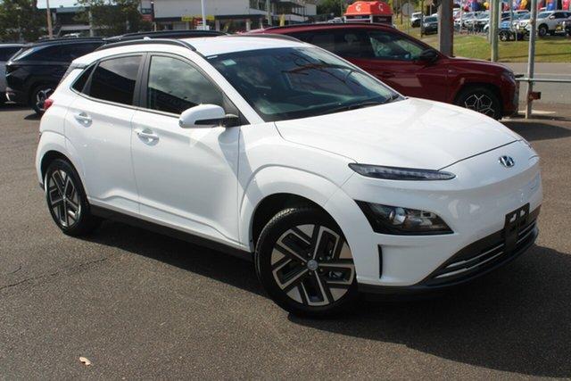New Hyundai Kona Os.v4 MY21 electric Elite North Gosford, 2021 Hyundai Kona Os.v4 MY21 electric Elite Atlas White 1 Speed Reduction Gear Wagon