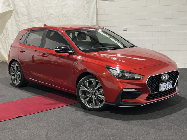 Used Hyundai i30 PD.3 MY19 N Line D-CT Glenorchy, 2019 Hyundai i30 PD.3 MY19 N Line D-CT Lava Orange 7 Speed Sports Automatic Dual Clutch Hatchback