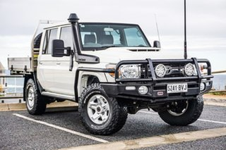 2018 Toyota Landcruiser VDJ79R GXL Double Cab White 5 Speed Manual Cab Chassis.