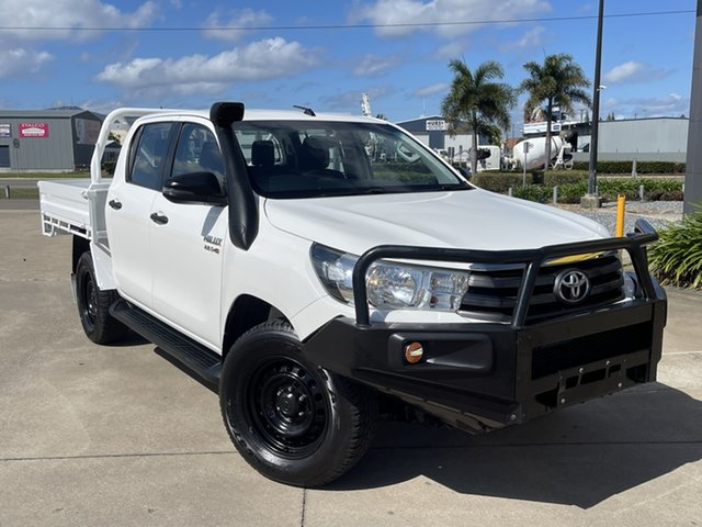 Used Toyota Hilux GUN126R SR Double Cab Townsville, 2017 Toyota Hilux GUN126R SR Double Cab White/231017 6 Speed Manual Cab Chassis
