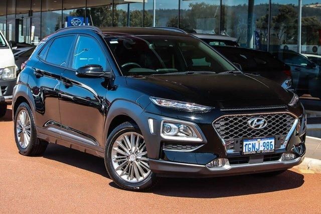 Used Hyundai Kona OS MY18 Elite 2WD Gosnells, 2017 Hyundai Kona OS MY18 Elite 2WD Black 6 Speed Sports Automatic Wagon