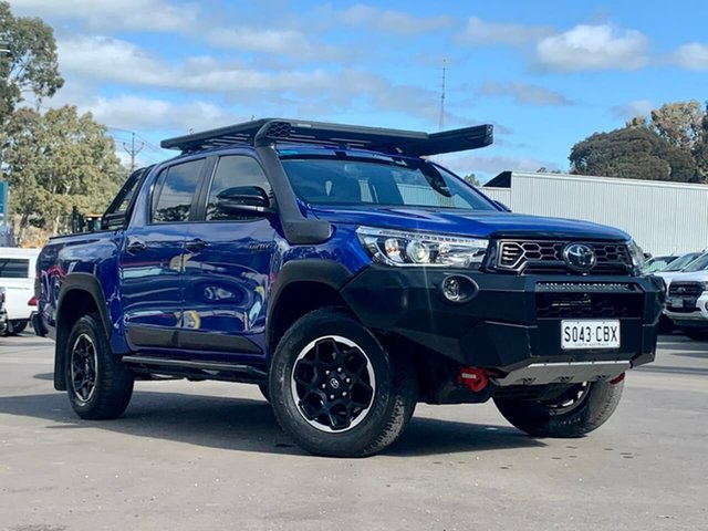 Used Toyota Hilux GUN126R Rugged X Double Cab Clare, 2019 Toyota Hilux GUN126R Rugged X Double Cab Blue 6 Speed Sports Automatic Utility