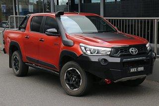 2018 Toyota Hilux GUN126R Rugged X Double Cab Inferno Orange 6 Speed Sports Automatic Utility.