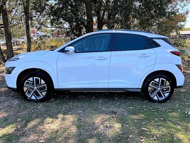 New Hyundai Kona Os.v4 MY21 electric Elite Mount Gravatt, 2021 Hyundai Kona Os.v4 MY21 electric Elite Atlas White 1 Speed Reduction Gear Wagon