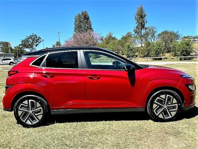 New Hyundai Kona Os.v4 MY21 electric Highlander Mount Gravatt, 2021 Hyundai Kona Os.v4 MY21 electric Highlander Pulse Red 1 Speed Reduction Gear Wagon