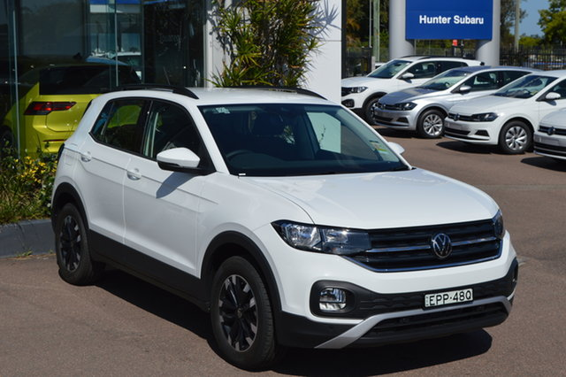 Demo Volkswagen T-Cross C1 MY21 85TSI DSG FWD Life Maitland, 2021 Volkswagen T-Cross C1 MY21 85TSI DSG FWD Life Pure White 7 Speed Sports Automatic Dual Clutch