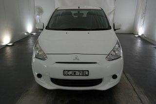 2013 Mitsubishi Mirage LA MY14 ES White 5 Speed Manual Hatchback.