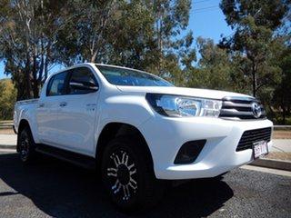 2015 Toyota Hilux GUN126R SR (4x4) Glacier White 6 Speed Manual Dual Cab Utility.