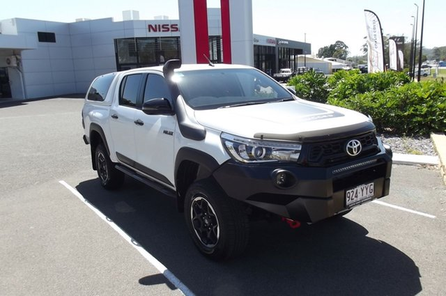 Used Toyota Hilux GUN126R Rugged X Double Cab South Gladstone, 2019 Toyota Hilux GUN126R Rugged X Double Cab White 6 Speed Sports Automatic Utility