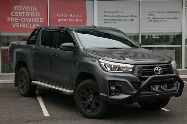 Pre-Owned Toyota Hilux GUN126R Rogue Double Cab South Morang, 2018 Toyota Hilux GUN126R Rogue Double Cab Graphite 6 Speed Sports Automatic Utility