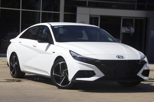 New Hyundai i30 CN7.V1 MY21 N Line D-CT Beaudesert, 2021 Hyundai i30 CN7.V1 MY21 N Line D-CT Polar White 7 Speed Sports Automatic Dual Clutch Sedan