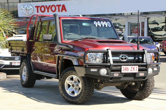 Pre-Owned Toyota Landcruiser VDJ79R GXL Double Cab North Lakes, 2017 Toyota Landcruiser VDJ79R GXL Double Cab Merlot Red 5 Speed Manual Cab Chassis