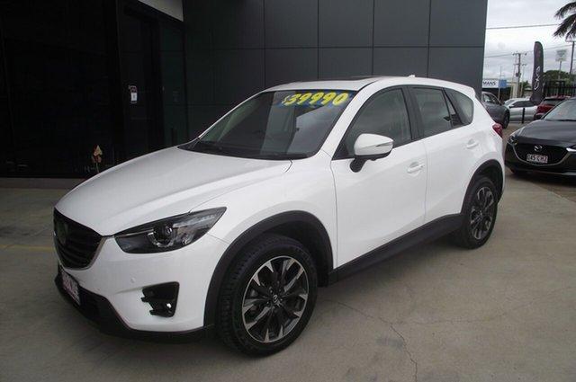 Used Mazda CX-5 KE1022 Akera SKYACTIV-Drive i-ACTIV AWD North Rockhampton, 2016 Mazda CX-5 KE1022 Akera SKYACTIV-Drive i-ACTIV AWD Crystal White Pearl 6 Speed Sports Automatic