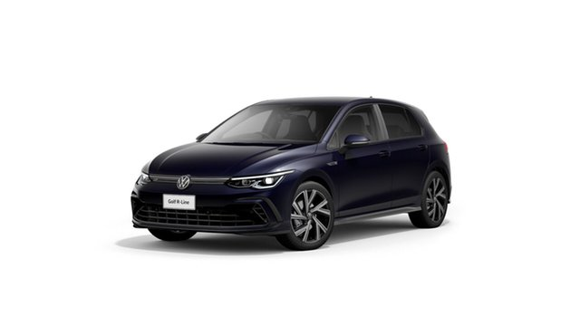 New Volkswagen Golf 8 110TSI R-Line Hamilton, 2021 Volkswagen Golf 8 110TSI R-Line Atlantic Blue 8 Speed Automatic Hatchback