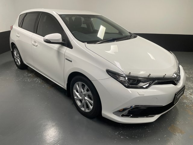Used Toyota Corolla ZWE186R Hybrid E-CVT Hamilton, 2018 Toyota Corolla ZWE186R Hybrid E-CVT White 1 Speed Constant Variable Hatchback Hybrid