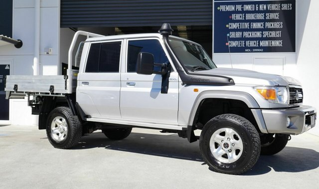 Used Toyota Landcruiser VDJ79R GXL Double Cab Capalaba, 2018 Toyota Landcruiser VDJ79R GXL Double Cab Silver 5 Speed Manual Cab Chassis