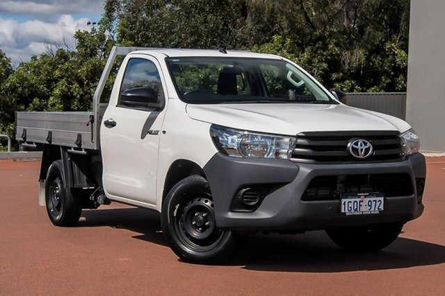Used Toyota Hilux TGN121R Workmate 4x2 Cannington, 2018 Toyota Hilux TGN121R Workmate 4x2 White 5 Speed Manual Cab Chassis
