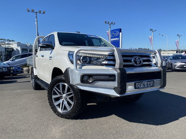 Used Toyota Hilux GUN126R SR5 Double Cab Brookvale, 2016 Toyota Hilux GUN126R SR5 Double Cab Crystal White Pearl 6 Speed Sports Automatic Utility