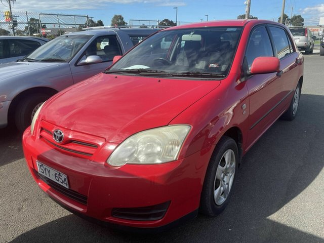 Used Toyota Corolla ZZE122R Ascent Traralgon, 2004 Toyota Corolla ZZE122R Ascent Red 5 Speed Manual Hatchback