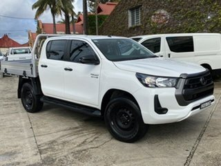 2020 Toyota Hilux GUN126R 4x4 Glacier White 6 Speed Automatic Dual Cab Chassis.