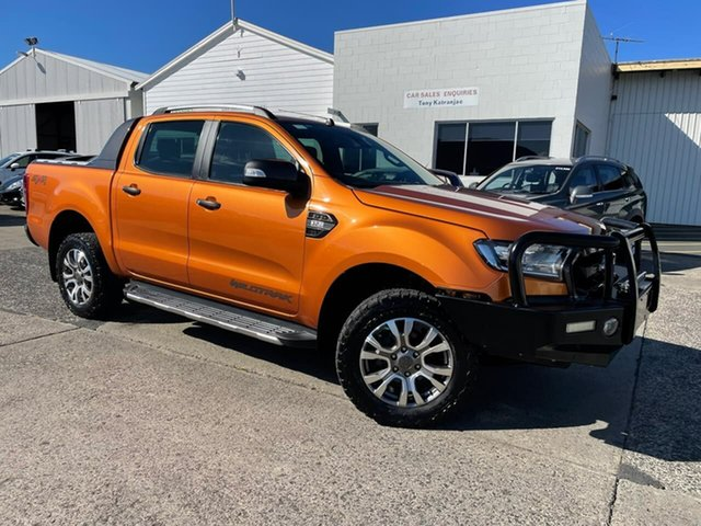Used Ford Ranger PX MkII Wildtrak Double Cab Moonah, 2016 Ford Ranger PX MkII Wildtrak Double Cab Orange 6 Speed Sports Automatic Utility