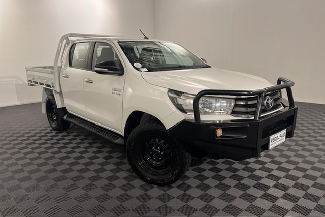 Used Toyota Hilux GUN126R SR Double Cab Acacia Ridge, 2017 Toyota Hilux GUN126R SR Double Cab Glacier 6 speed Automatic Cab Chassis