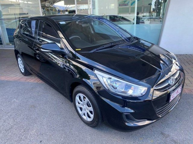Used Hyundai Accent RB3 MY16 Active Springwood, 2015 Hyundai Accent RB3 MY16 Active Ultra Black 6 Speed Constant Variable Hatchback